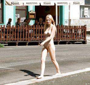 amateur photo Walking through town