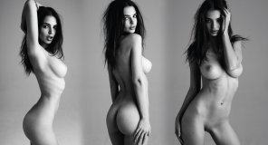amateur photo Emily Ratajkowski fully nude, front, back and side views in Ultra High Definition