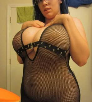 amateur photo Glasses. Huge tits. Fishnets. Curves for days. Yessir.