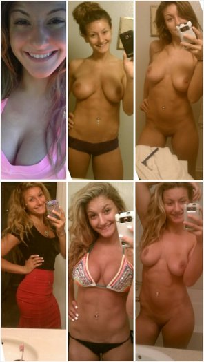amateur photo Smiling blonde self shooter [collage]