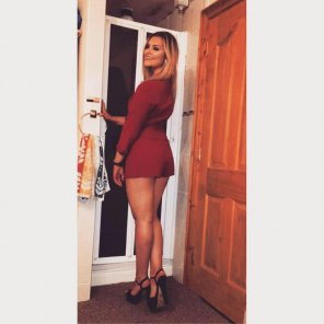 amateur photo British beauty in a short dress