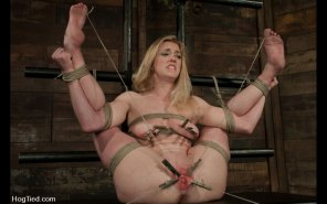 amateur photo Helplessly tied and spread wide for anyone's inspection