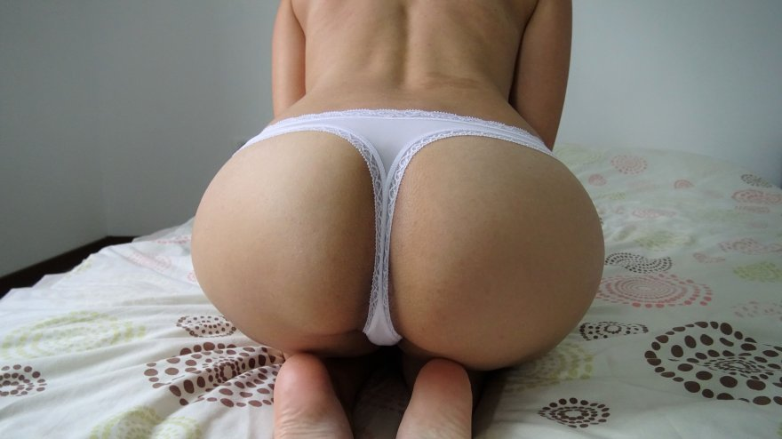 My ass in white panties Porn Photo