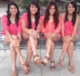 Leggy Latina quartet