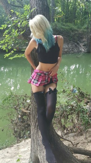 amateur photo Schoolgirl in the woods
