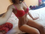Red bra only!