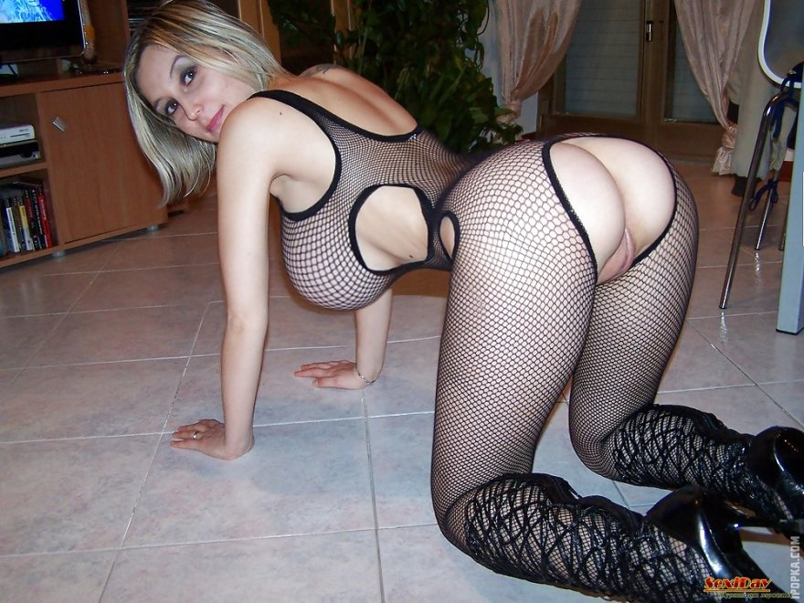 Busty babe with a fat pussy in a fishnet body suit. Porn Photo