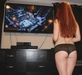 Gamer girl from behind