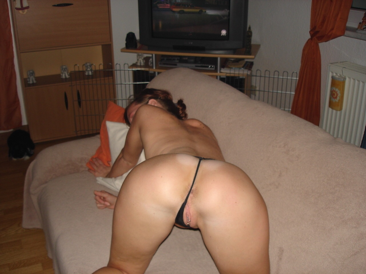 Amateur in picture thong