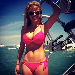 amateur photo Pink bikini on a boat