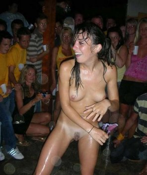 amateur photo The only naked girl at the whole party