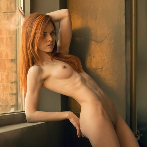 amateur photo Skinny redhead