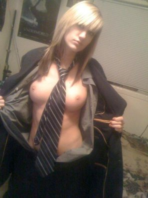 amateur photo You can leave your tie on