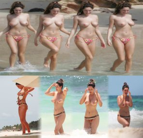 amateur photo Kelly Brook topless at the beach at age 26 and 34