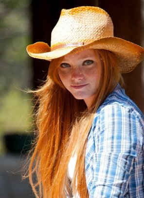 amateur photo Redheaded cowgirl. Oh my!