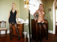 Blonde in Black Stockings