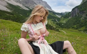 amateur photo Milkmaid in the mountains