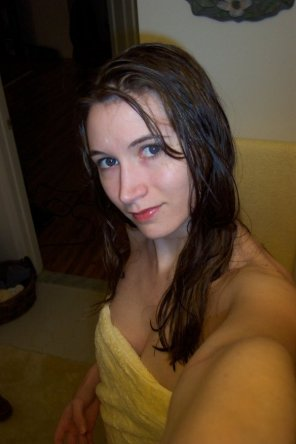 amateur photo PictureBeautiful blue eyes and just a hint of cleavage drives me crazy