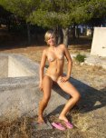 amateur photo Cute blonde girl completely naked outdoors