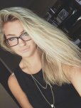 amateur photo blonde with hair and glasses