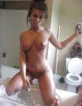 amateur photo On the bathroom counter.
