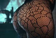 Close up view of this spooky spider themed fishnet