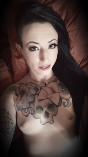 amateur photo Pale and tattooed with pretty pierced nipples! Check out my latest selfie. . .