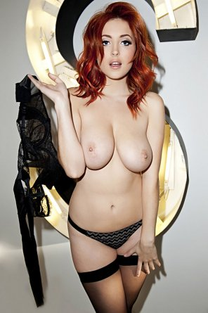 amateur photo Redhead in black