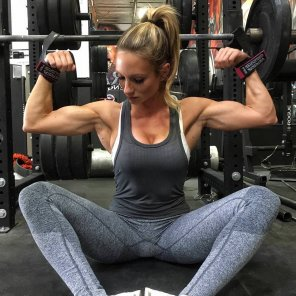amateur photo Paige Hathaway in yoga pants. She might even have bigger forearms than me