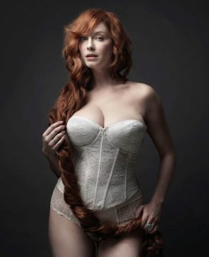 amateur photo Christina Hendricks in a white bodice