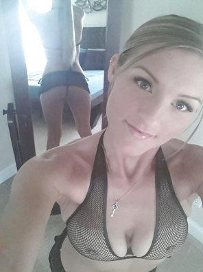 amateur photo Cutie in fishnet underwear.