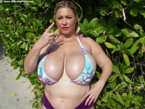 amateur photo Samantha38G ruins the curve for BBWs in bikinis