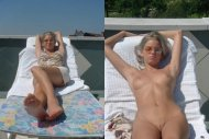 amateur photo Working on her tan lines