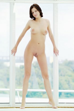 amateur photo Brunette Window Dressing