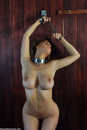 amateur photo chained in the barn