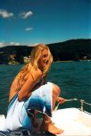 amateur photo Happy and embarrassed on a boat