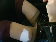 Mini skirt, stockings, high boots, no panties 😋
