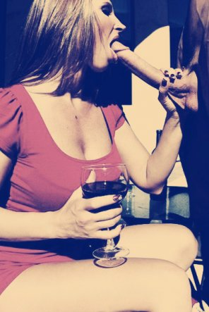 amateur photo Drink in one hand, cock in the other