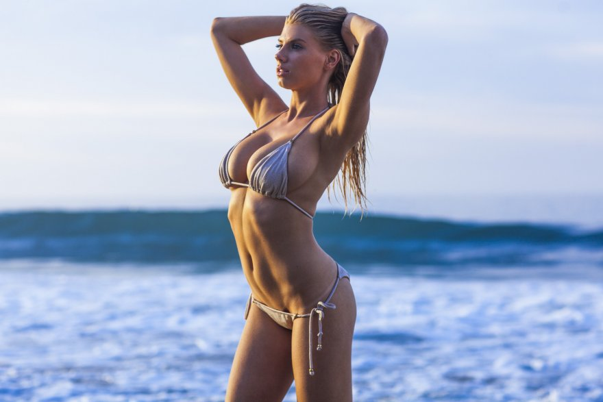 Another shot of Charlotte McKinney in her skimpy silver bikini Porn Photo