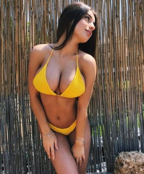 amateur photo Cutie in yellow bikini