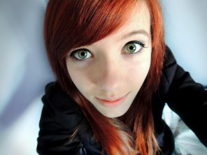 amateur photo Red hair, green eyes