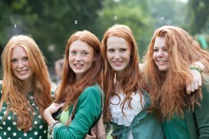 amateur photo A gaggle of redheads in green