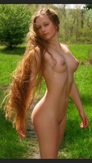 amateur photo long hair with a tight body