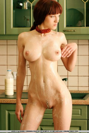 amateur photo soaped stunner by the sink