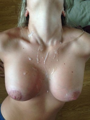 amateur photo Milf's cum covered Tits