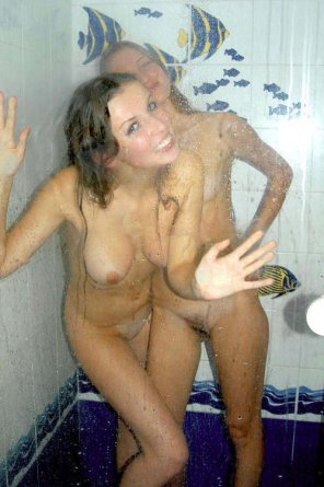 amateur photo Girl and her Anna Kendrick look alike friend in the shower