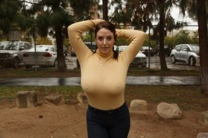 amateur photo Angela White shows sweater meat