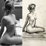 amateur photo Nude wife vs self portrait
