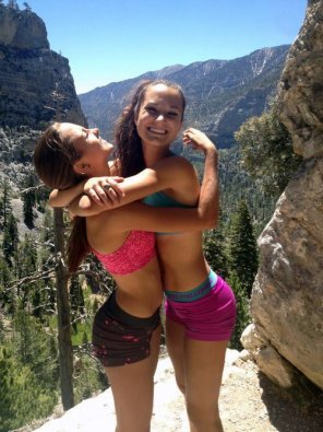 amateur photo Hiking in yoga shorts and sports bras