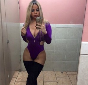 amateur photo Busty blonde in purple leotards